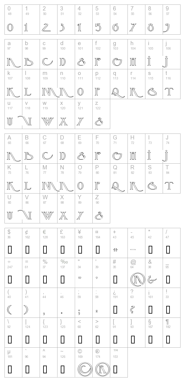 Backspace Outline character map