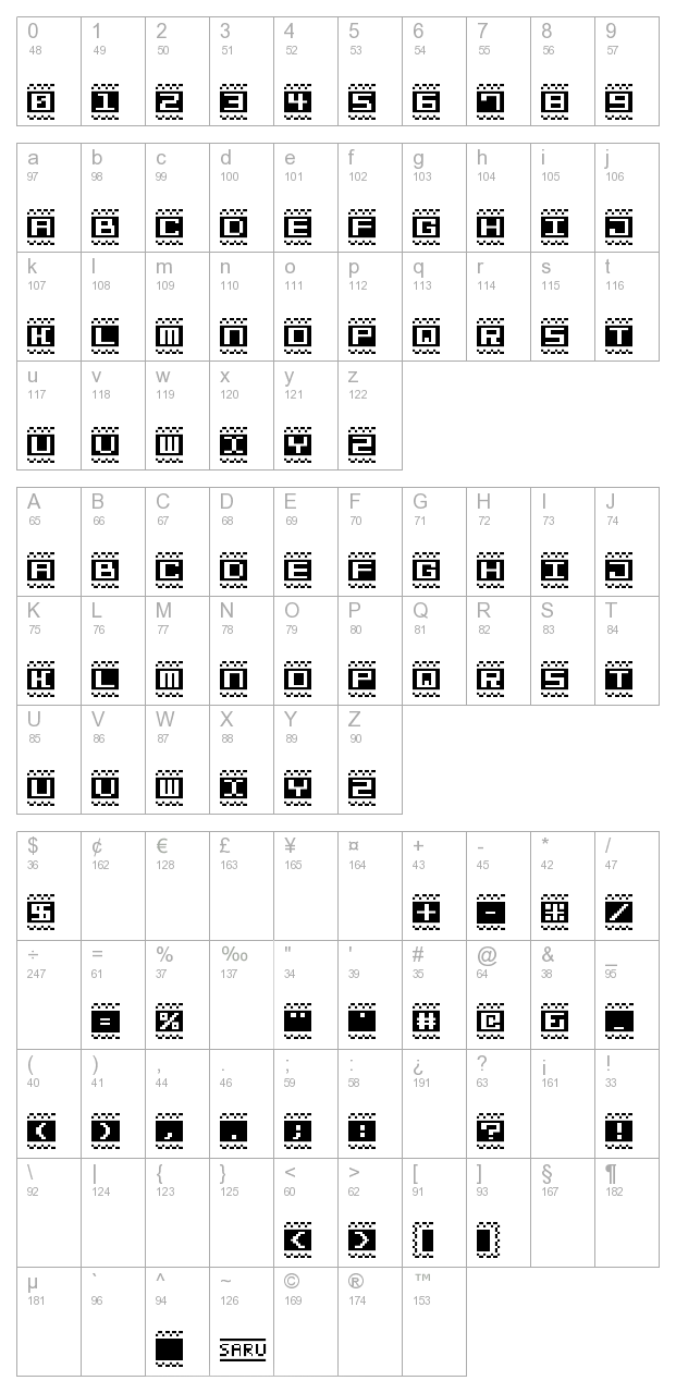 Bit Lines 15 (s RB) character map