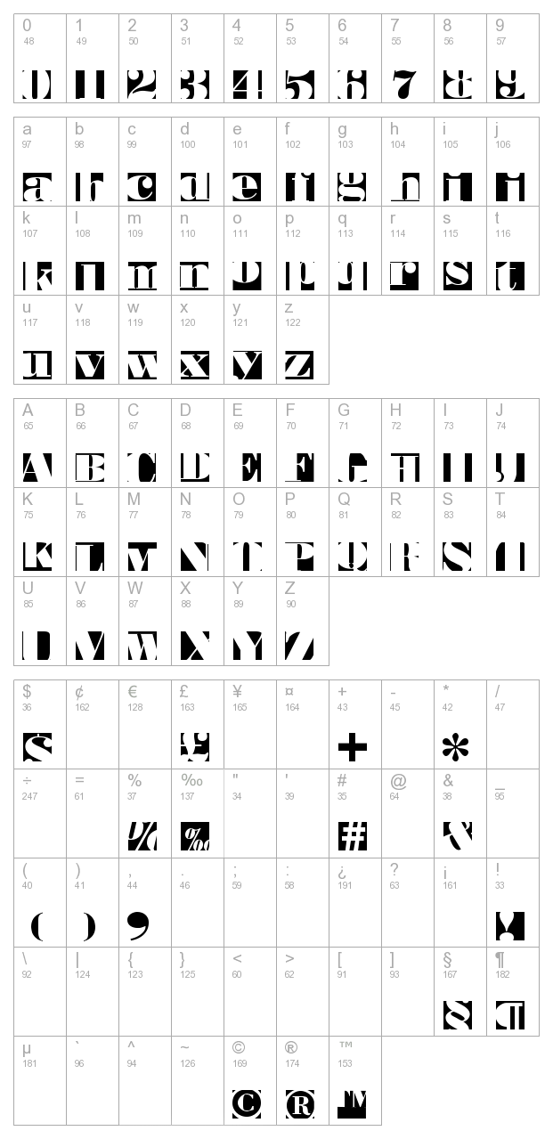 Bodoblack Squares character map