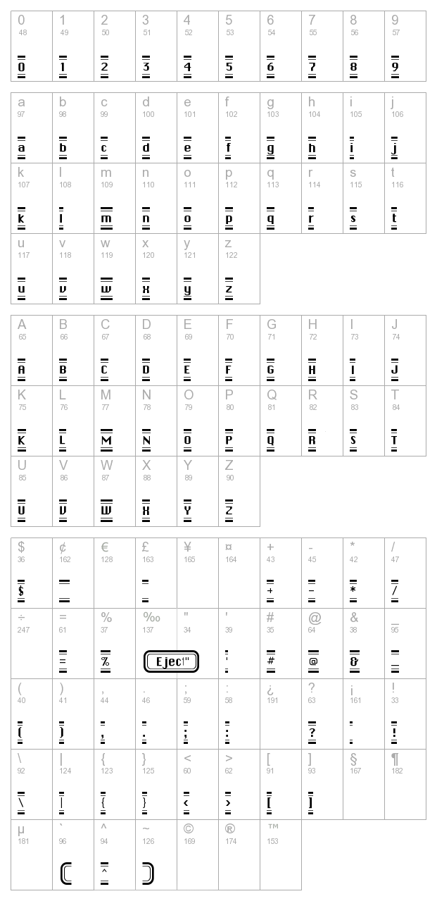 Button Hilight FLF character map