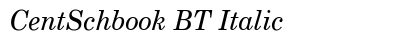 Cent Schbook BT Italic preview