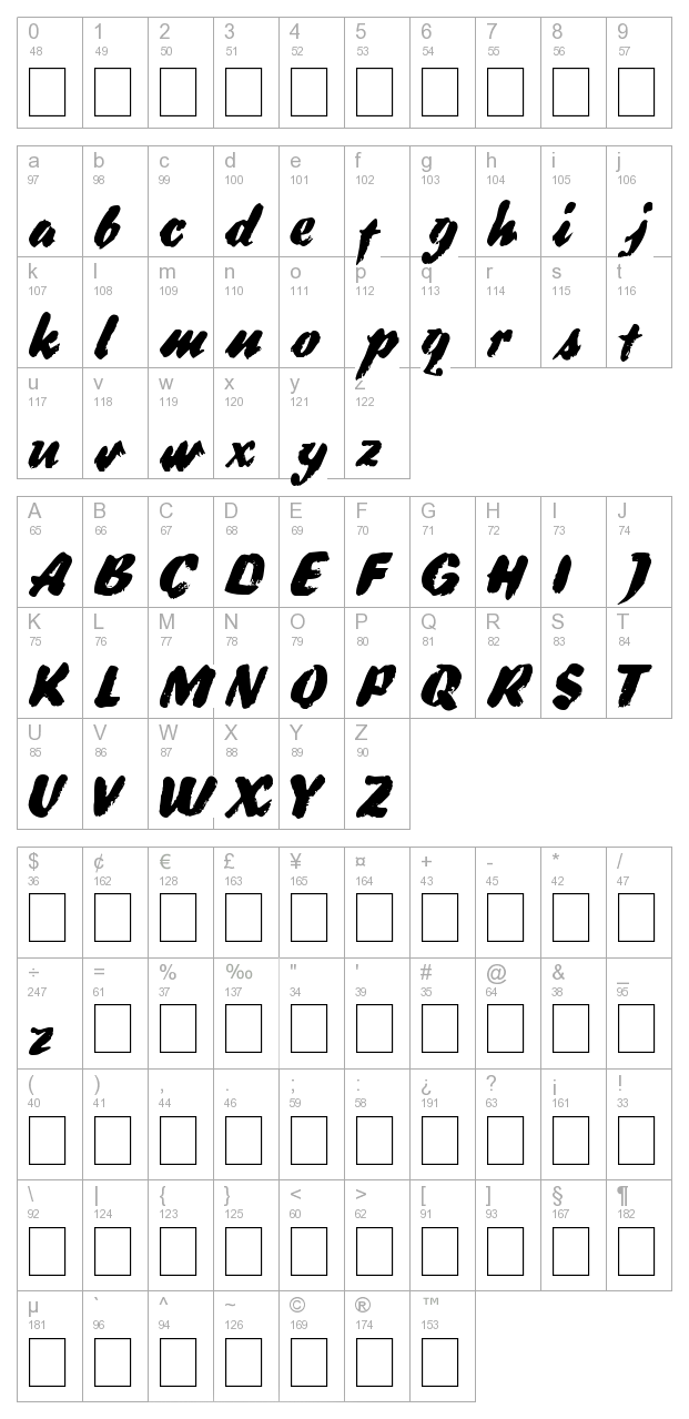 DS Broad Brush character map