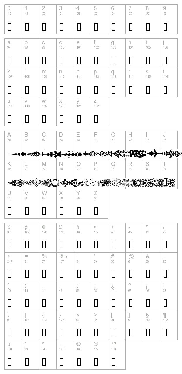 Deco Dividers character map