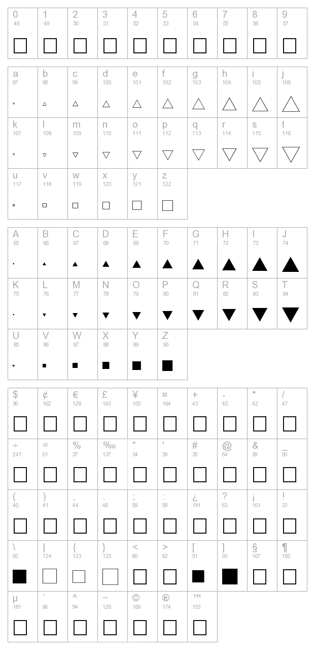 FZ DING 35 character map