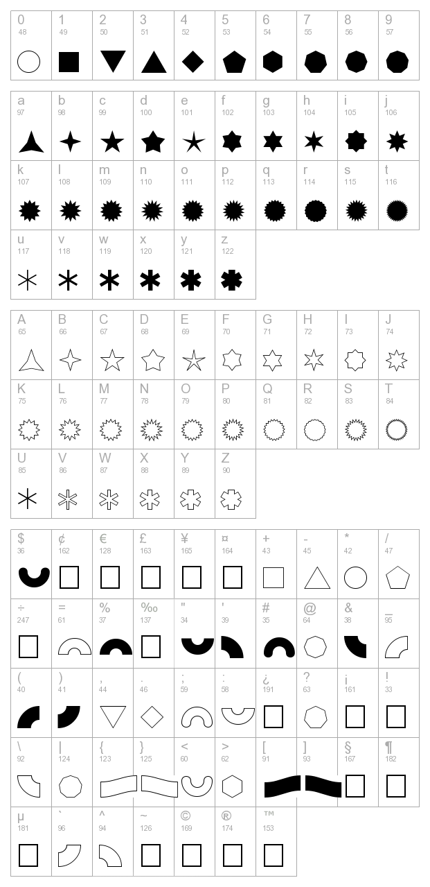 FZ DING 46 character map