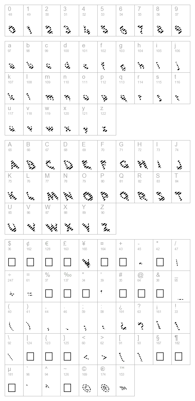 FZ JAZZY 11 STRIPED LEFTY character map