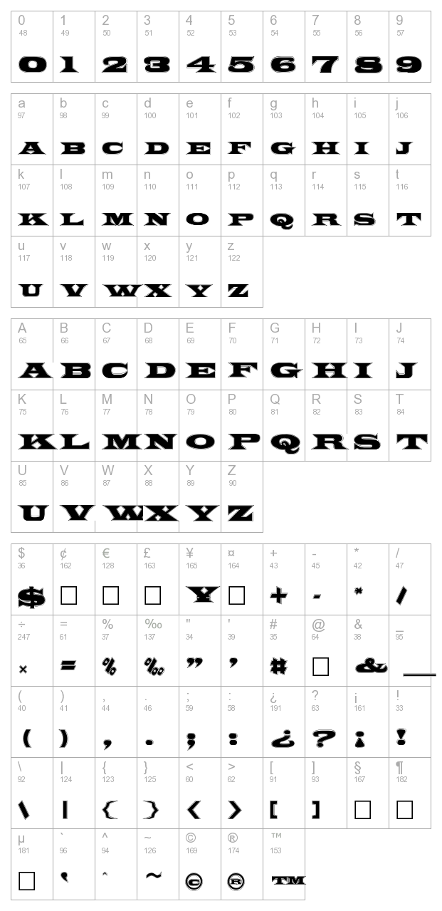 FZ JAZZY 26 CONTOUR character map