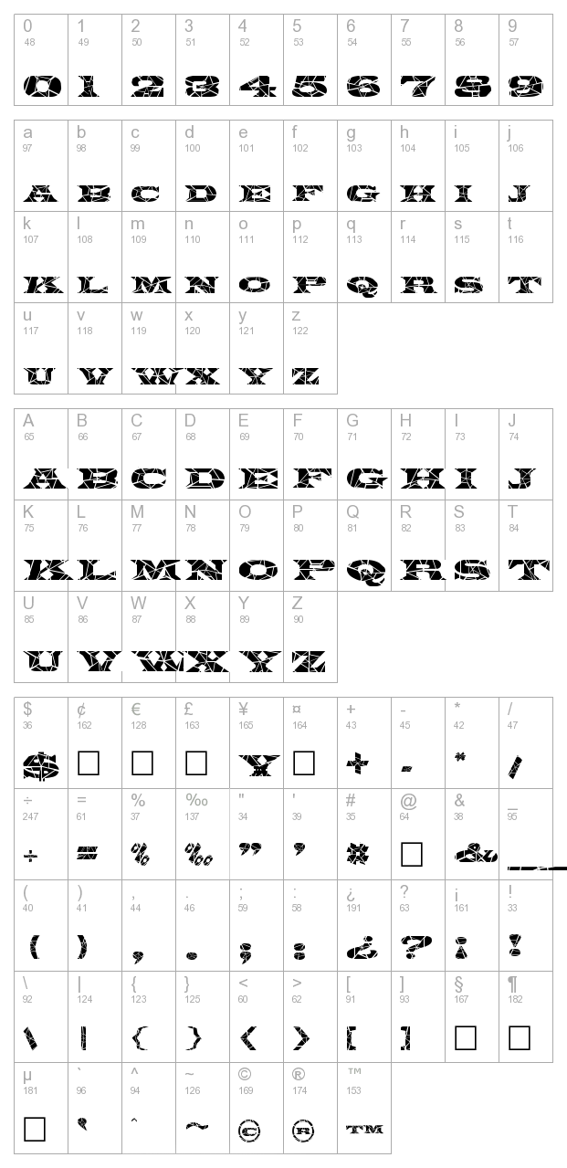 FZ JAZZY 26 CRACKED character map