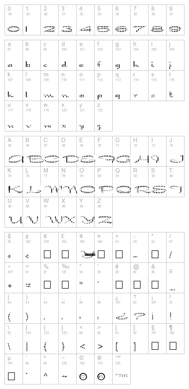 FZ JAZZY 30 STRIPED character map