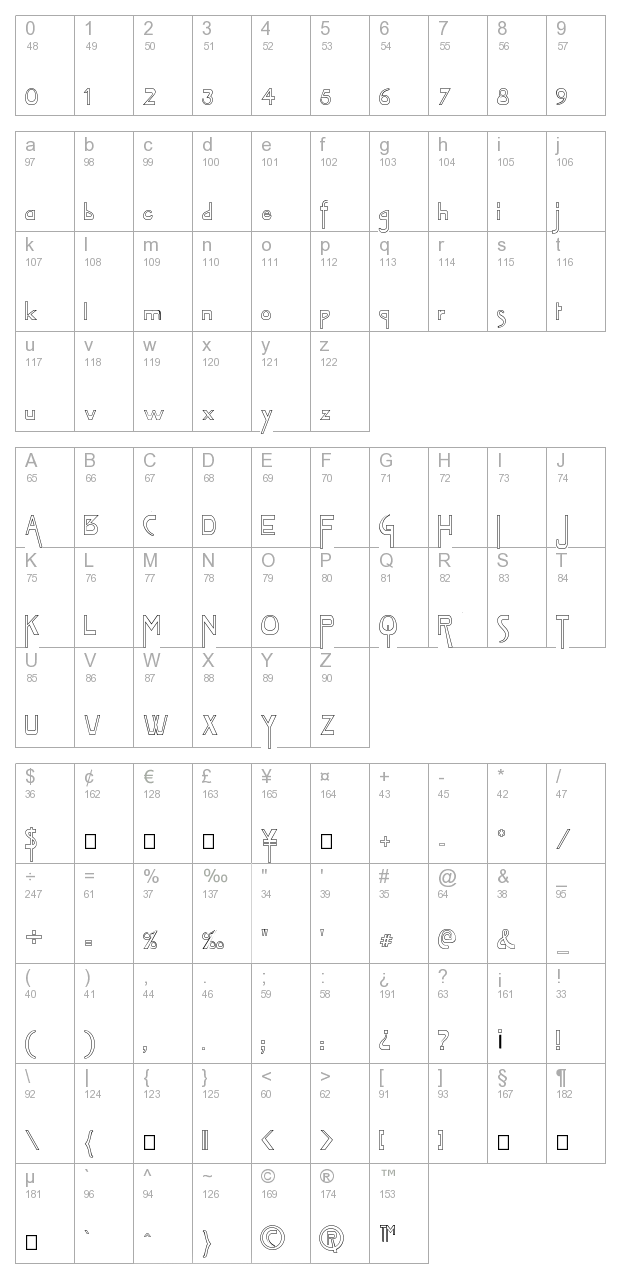 FZ JAZZY 45 HOLLOW character map