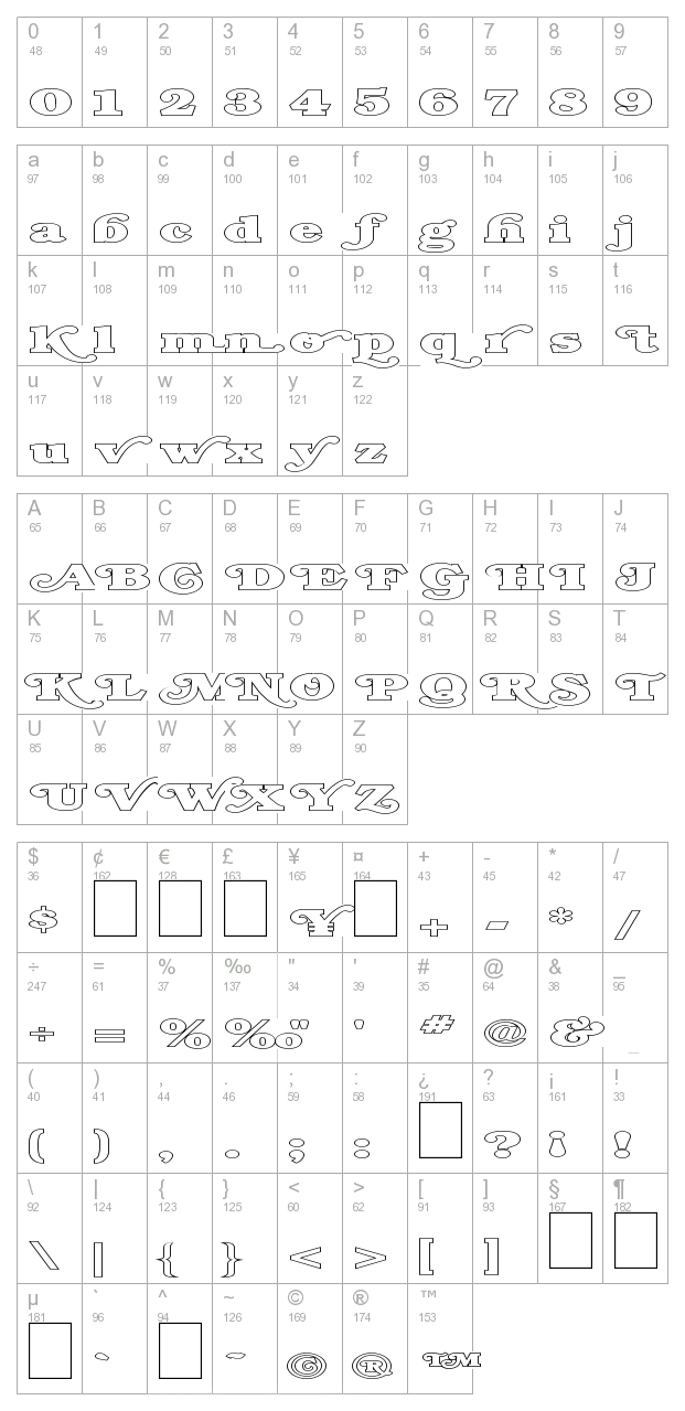 FZ JAZZY 47 HOLLOW EX character map