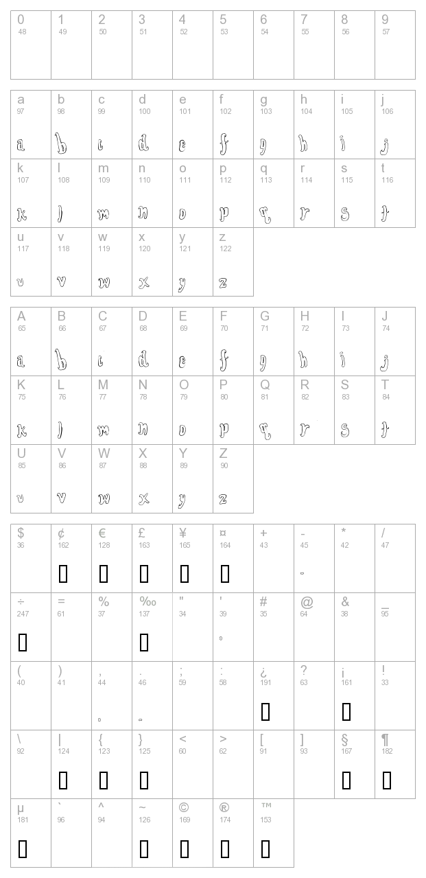 Font For The Dumped Outline character map