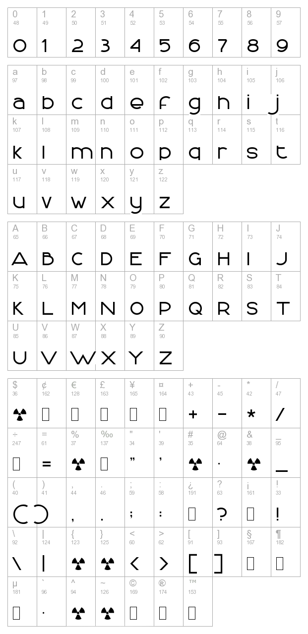 Font Logic Normal character map