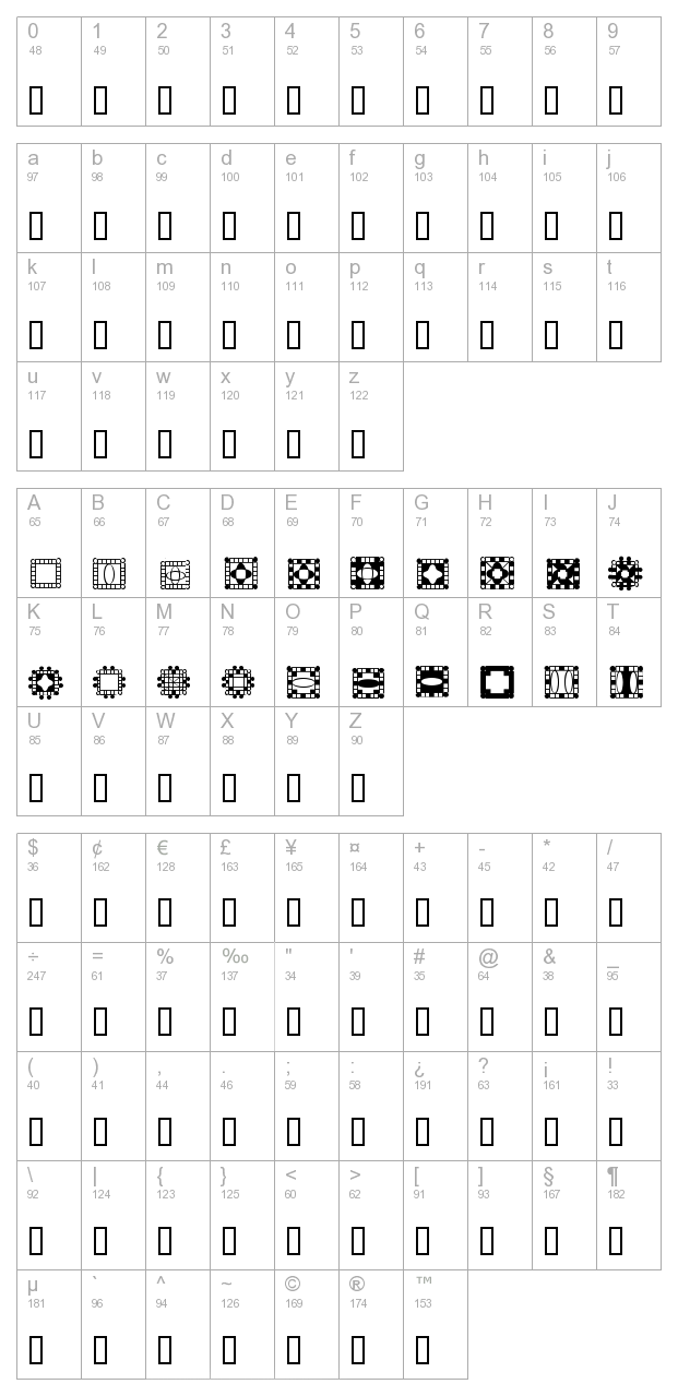 HDGEMS 9 character map