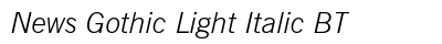News Gothic Light Italic BT preview