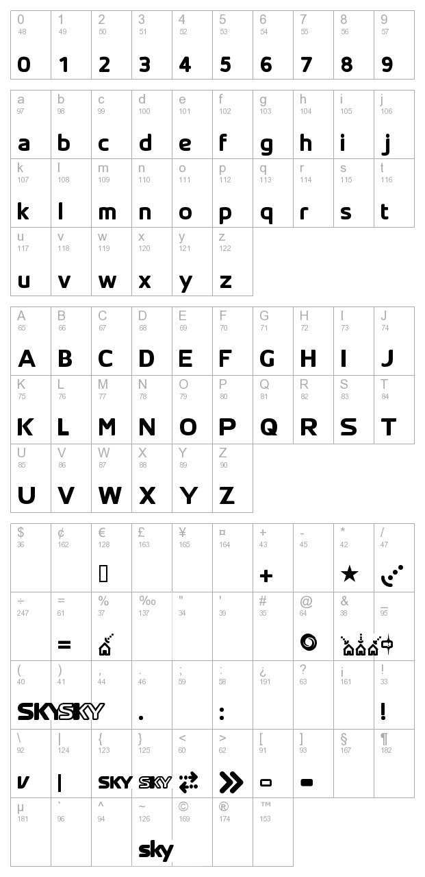 SK Yfont Thick character map