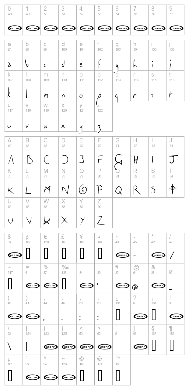 The Cowboy Font character map