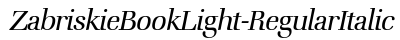 Zabriskie Book Light Regular Italic font